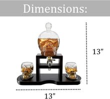 Load image into Gallery viewer, Skull Whiskey 750mL Decanter Set With 2 Skull 3oz Glasses and mahogany Wooden Base The Wine Savant With Spigot