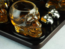 Load image into Gallery viewer, Large Skull Face Decanter with 4 Skull Shot Glasses and Wooden Base and 4 Skull Whiskey Chillers - By The Wine Savant 750ml Decanter 4 oz Shot Glasses