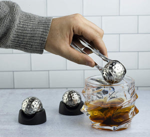 Golf Ball Shaped Stainless Steel Whiskey Stones, Whiskey Rocks, By The Wine Savant Great for Parties or for Bar Use, 4 Stones Rocks Cubes for Whiskey, Bourbon Vodka, Scotch