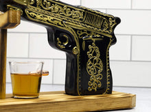 Load image into Gallery viewer, Glass Hand Painted Pistol Whiskey Gun Decanter & Pistol Shot Glasses Set, With 2 Bullet Shot Glasses