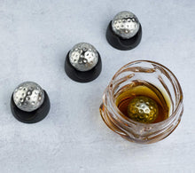 Load image into Gallery viewer, Golf Ball Shaped Stainless Steel Whiskey Stones, Whiskey Rocks, By The Wine Savant Great for Parties or for Bar Use, 4 Stones Rocks Cubes for Whiskey, Bourbon Vodka, Scotch