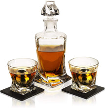Load image into Gallery viewer, Whiskey Stones & Decanter Gift Set, 2 Stainless Steel Whiskey Balls, 2 Twist Glasses, Decanter, 2 Coasters, Freezer Pouch & Special Tongs