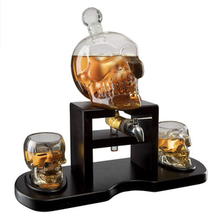 Skull Whiskey 750mL Decanter Set With 2 Skull 3oz Glasses and mahogany Wooden Base The Wine Savant With Spigot