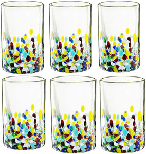 Hand Blown Mexican Drinking Glasses – Set of 6 Confetti Carmen Rock Design Glasses by The Wine Savant