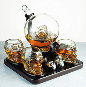 Large Skull Face Decanter with 4 Skull Shot Glasses and Wooden Base and 4 Skull Whiskey Chillers - By The Wine Savant 750ml Decanter 4 oz Shot Glasses