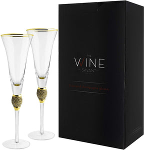 Diamond Champagne Flutes Set of 2 Glasses 7oz, Premium Designed Champagne Glasses for Spirits and Wine, Gift Boxed By The Wine Savant