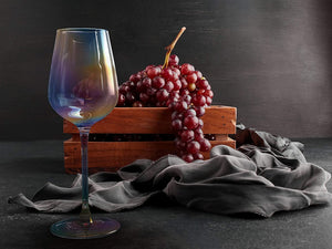 Iridescent Luster Large Radiance Wine Glasses - White Pearl Whimsy and Nostalgia Large Red Wine or White Wine Glass In An Elegant Gift Box