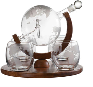 Etched World Decanter Whiskey Globe With Antique Airplane Inside - Includes Whiskey Stones and 4 World Map Glasses