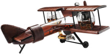 Load image into Gallery viewer, Whiskey Decanter Airplane Set and 2 Airplane Glasses Antique Wood Airplane