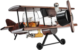 Whiskey Decanter Airplane Set and 2 Airplane Glasses Antique Wood Airplane