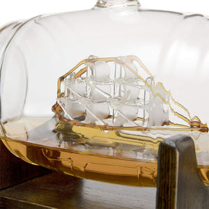 Whiskey Barrel Decanter With Ship With Two Glasses
