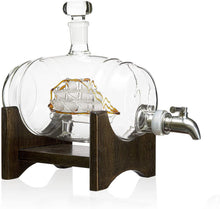 Load image into Gallery viewer, Whiskey Barrel Decanter With Ship With Two Glasses