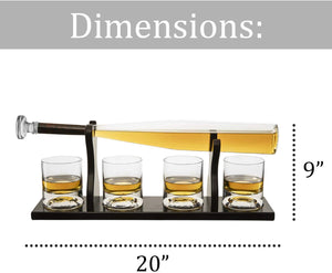 Baseball Decanter  Bat Whiskey Decanter Set with 4 Baseball Glasses