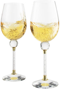 Crystal Ball Diamond Filled Wine Glasses 8 Ounces -Gold and Laser Cut Sparkling Wine Wedding Glasses, Elegant Crystal Wine Glassware