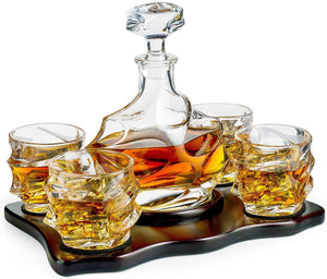 Iceberg Mountain Glacier Shaped Decanter with 4 Glasses and Wood Tray
