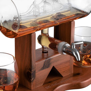 Whiskey Decanter Ship Set - With 2 Glasses and Beautiful Stand