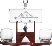 Load image into Gallery viewer, Whiskey Decanter Ship Set - With 2 Glasses and Beautiful Stand
