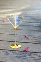 Load image into Gallery viewer, Yellow Gold Diamond Studded Martini Glasses 8 Ounces- Sparkling Martini and Wine Wedding Glasses, Elegant Crystal Wine Glassware