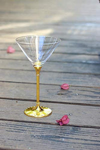 Yellow Gold Diamond Studded Martini Glasses 8 Ounces- Sparkling Martini and Wine Wedding Glasses, Elegant Crystal Wine Glassware