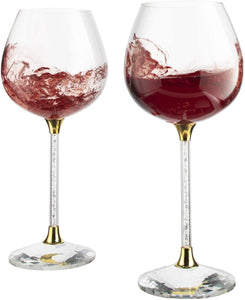 Crystal Wine Glasses Diamond Filled Stem, White and Red Wine, With Laser Cut Diamond Base Large 18 Ounces