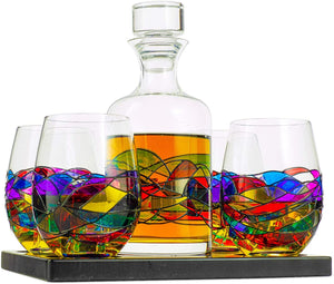 Artisanal Hand Painted Whiskey & Wine Decanter Set, Renaissance Romantic Stain-Glassed Windows Glasses