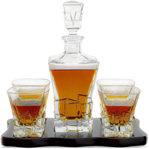 The Wine Savant Wine and Whiskey Iceberg Decanter with 4 Glasses and Wood Tray