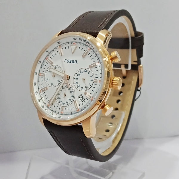 Jam Tangan FOSSIL ORIGINAL PRIA FS5415 ROSE GOLD WHITE BROWN
