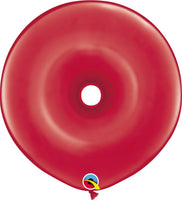 Qualatex 16 inch geo donut jewel tone balloons in ruby red