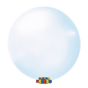 "Open image in slideshow, Globos Payaso 24"" round soap bubble crystal balloons in blue"