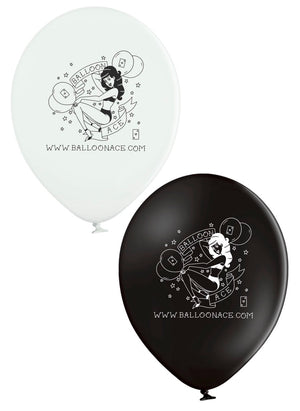Balloon Ace tattoo logo (Belbal) custom printed black and white balloons