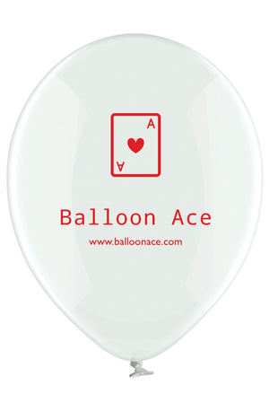 "Open image in slideshow, Balloon Ace red logo (Belbal) 14"" round crystal clear balloons"
