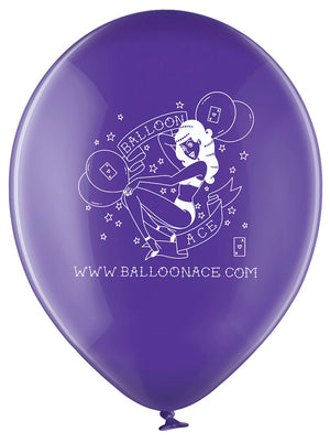 "Open image in slideshow, Balloon Ace tattoo logo (Belbal) 14"" round crystal purple balloons (10 bag)"