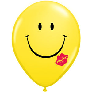 "Qualatex 16"" round standard smiley kiss balloons"