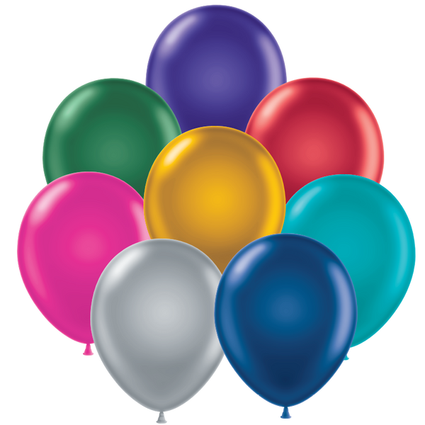 "Assorted Tuf-tex 11"" round metallic balloons"