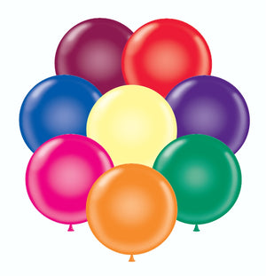 "Assorted Tuftex 17"" round crystal balloons"