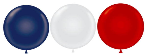 "Assorted Tuf-tex 17"" round metallic balloons"