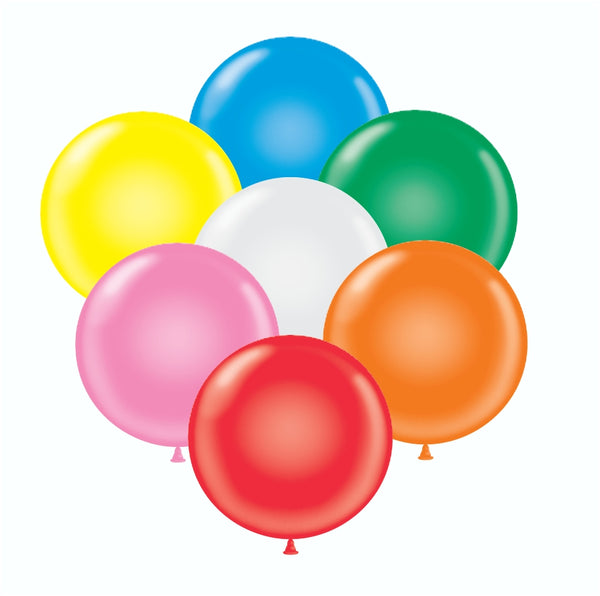 "Assorted Tuf-tex 36"" round standard balloons"