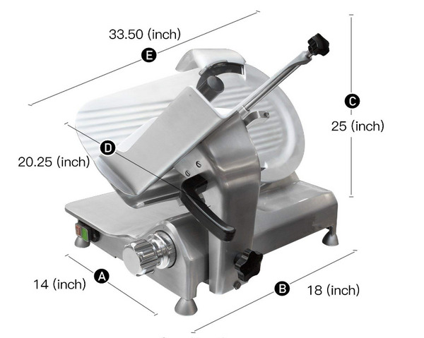 12-Inch Commercial Heavy Duty Stainless Steel Meat Slicer