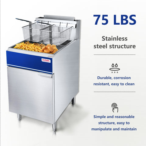 75 lb. Deep Fryer with 2 Fryer Baskets, 75 Pound 21 Inch Stainless Steel Liquid Propane Floor Fryer with Thermostat