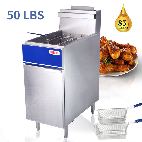50 lb. Deep Fryer with 2 Fryer Baskets, 50 Pound 15 Inch Stainless Steel Liquid Propane Floor Fryer with Thermostat