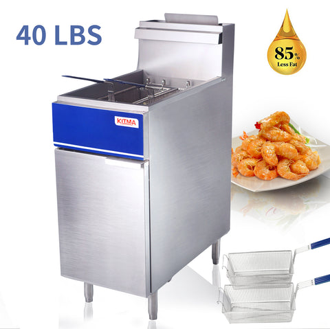 40 lb. Deep Fryer with 2 Fryer Baskets, 40 Pound 15 Inch Stainless Steel Natural Gas Floor Fryer with Thermostat