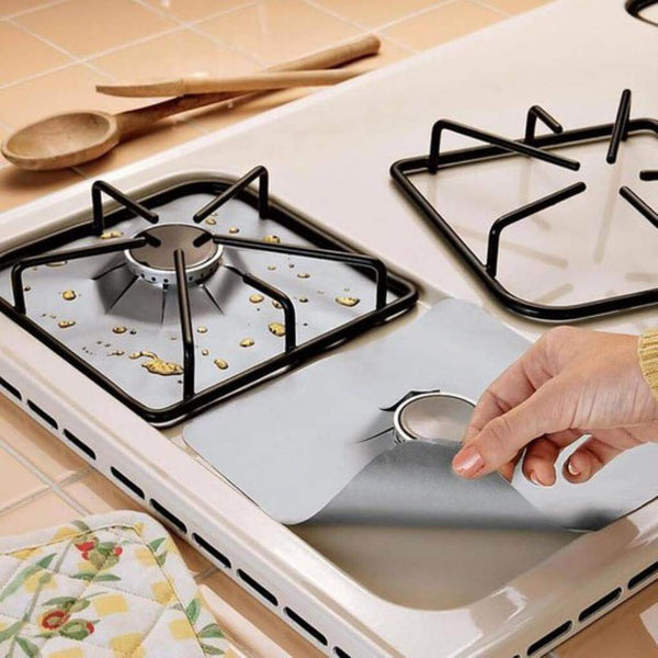 4Pcs Reusable Silver Gas Range Protector Liner Non Stick Gas Hob Stove Top