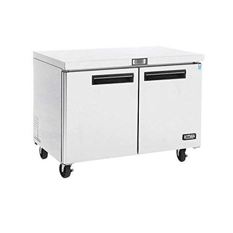 Commercial 2 Door Undercounter Freezer - KITMA 13 Cu. Ft Stainless Steel Worktop Freezer for Kitchen, 0°F - 8°F