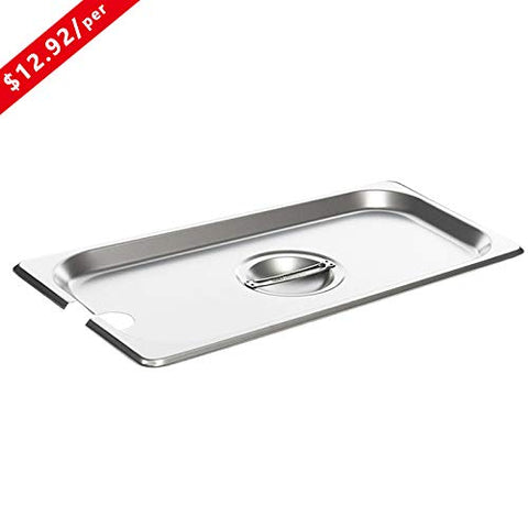Full Size Stainless Steel Slotted Steam Table Pan Cover, Kitma 1/1 Size Pan Lids, Non-Stick Surface, Solid Lid for Full Size Steam Pans with Handle - 12 Pack