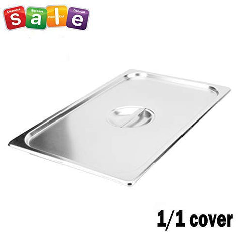 Full Size Stainless Steel Steam Table Pan Cover,1/1 Size Pan Lids, Non-Stick Surface, Solid Lid for Full Size Steam Pans with Handle