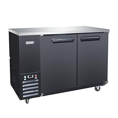 59'' Wide 2 Door Back Bar Beverage Cooler with Stainless Steel Top and Led Lighting, 17.3 Cu.Ft