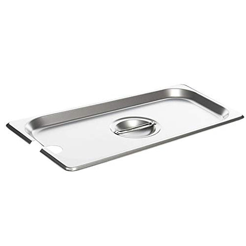 Full Size Stainless Steel Slotted Steam Table Pan Cover, 1/1 Size Pan Lids, Non-Stick Surface, Solid Lid for Full Size Steam Pans with Handle