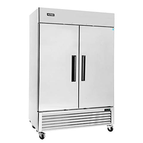 Commercial 2 Door Upright Freezer - KITMA Stainless Steel Side by Side Bottom Fridge with Shelves for Restaurant, Bar, 0°F - 8°F