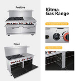 Heavy Duty 60''Gas 6 Burner Range With 24'' Griddle and 2 Standard Ovens - Kitma Natural Gas Cooking Performance Group for Kitchen Restaurant, 252,000 BTU