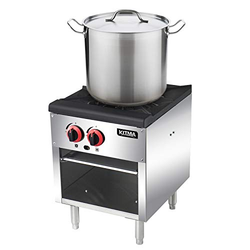 18 Inches Single Stock Pot Range - KITMA Natural Gas Stock Pot Stove with 2 Manual Controls for Restaurant